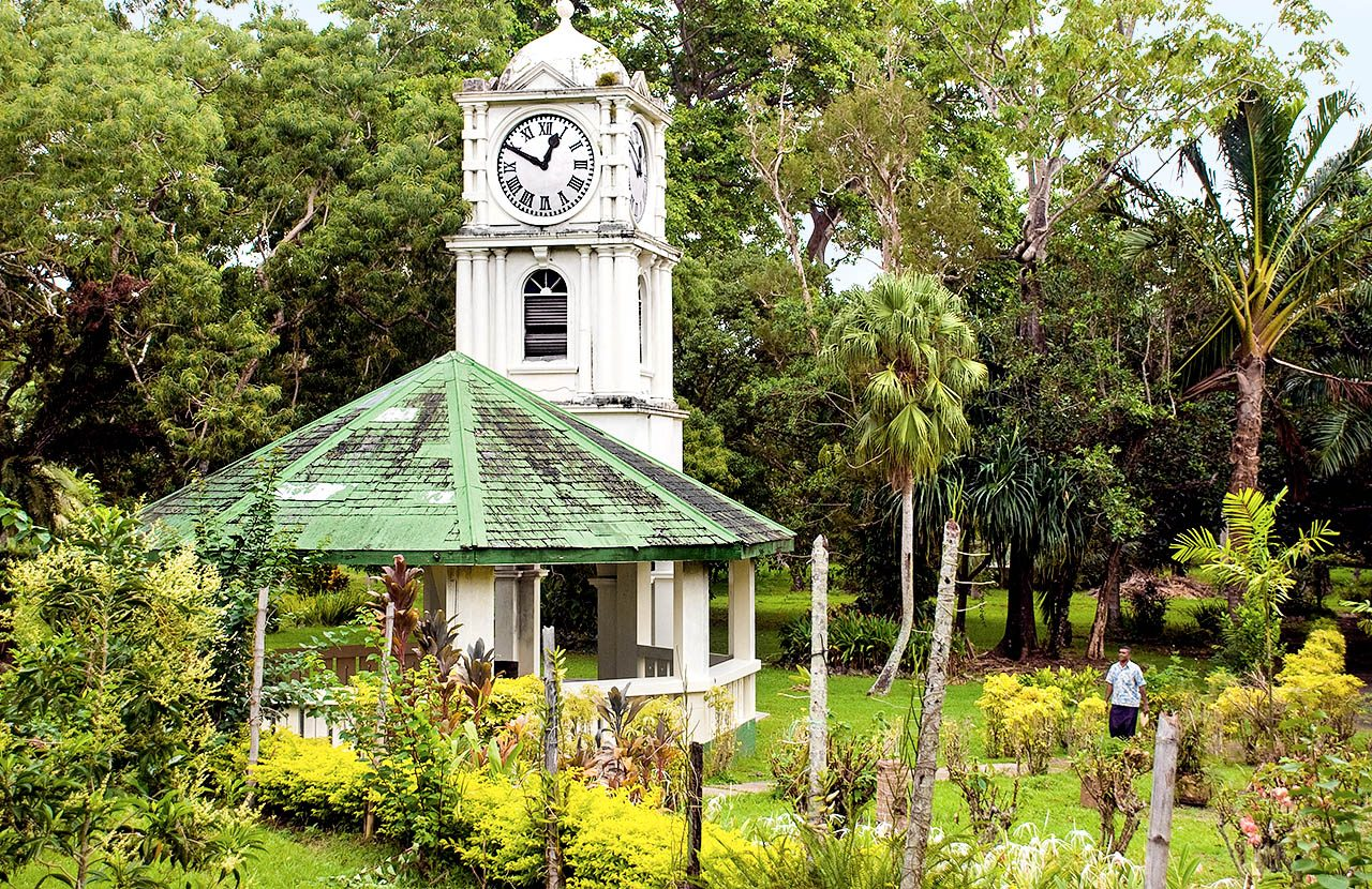 clock tower in thurston gardens suva Fiji