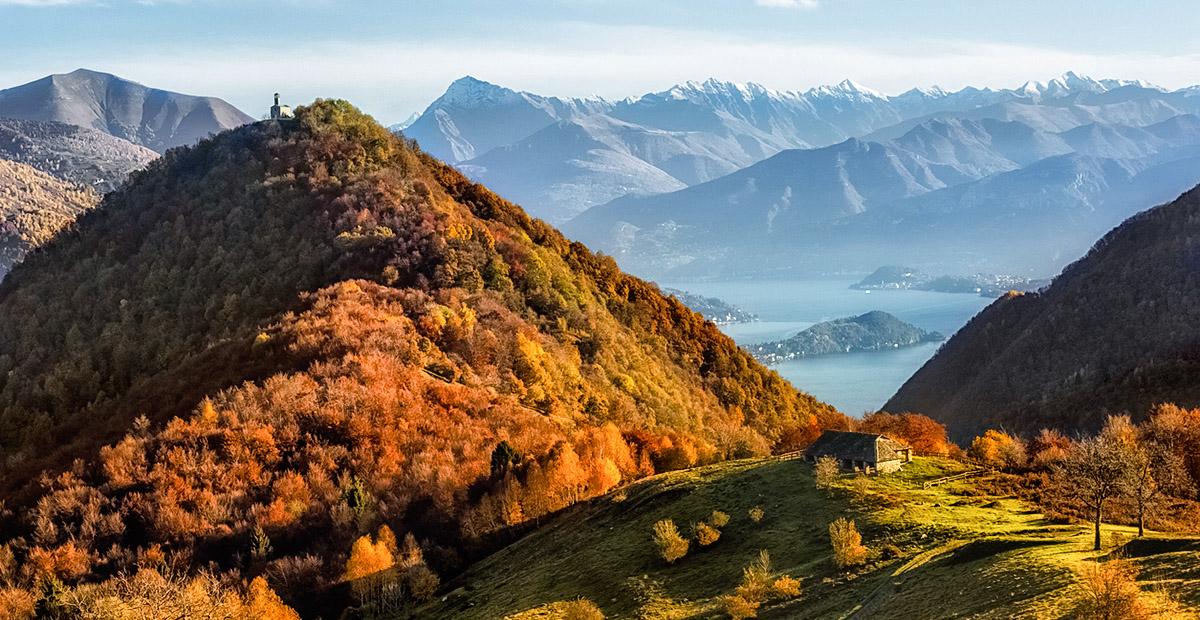 Lake Como landscape during autumn from mountains, Val D'Intelvi.