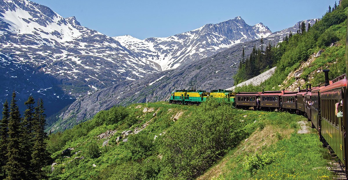 White Pass & Yukon Route Railroad heads towards White Pass. Image shot 06/2013. Exact date unknown.