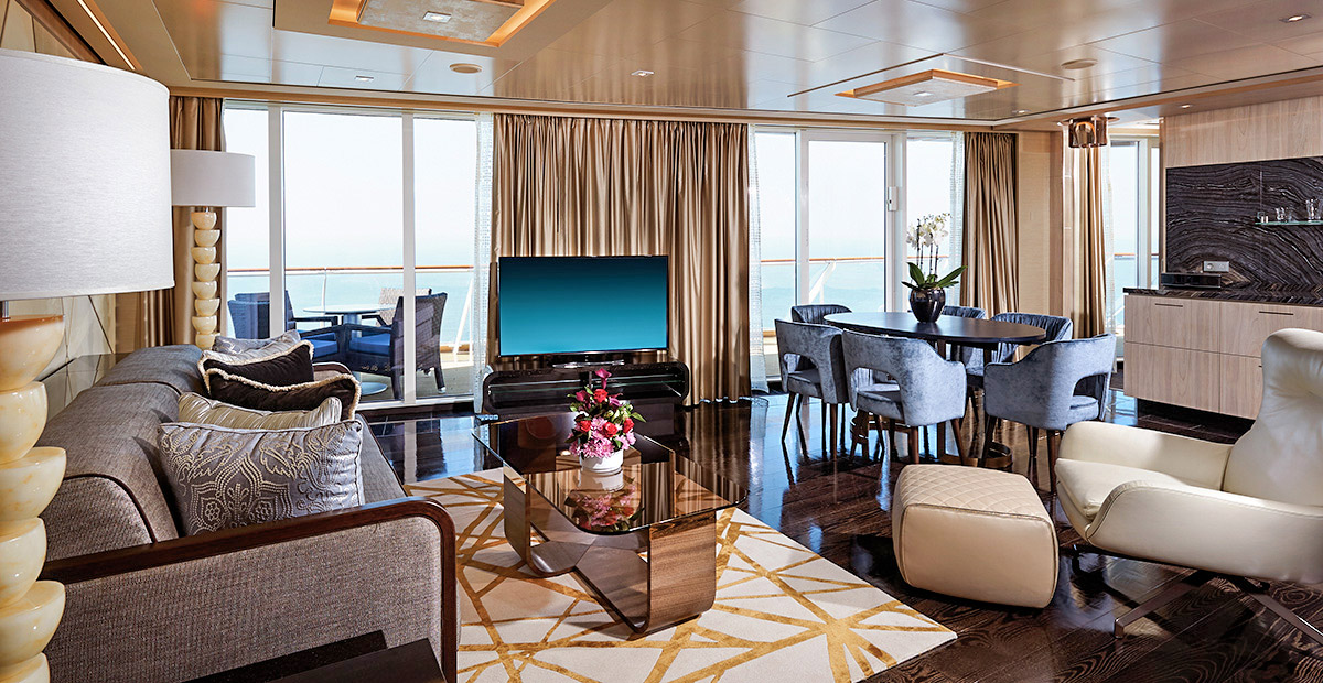 The Haven Deluxe Owner's Suite living room on Norwegian Bliss