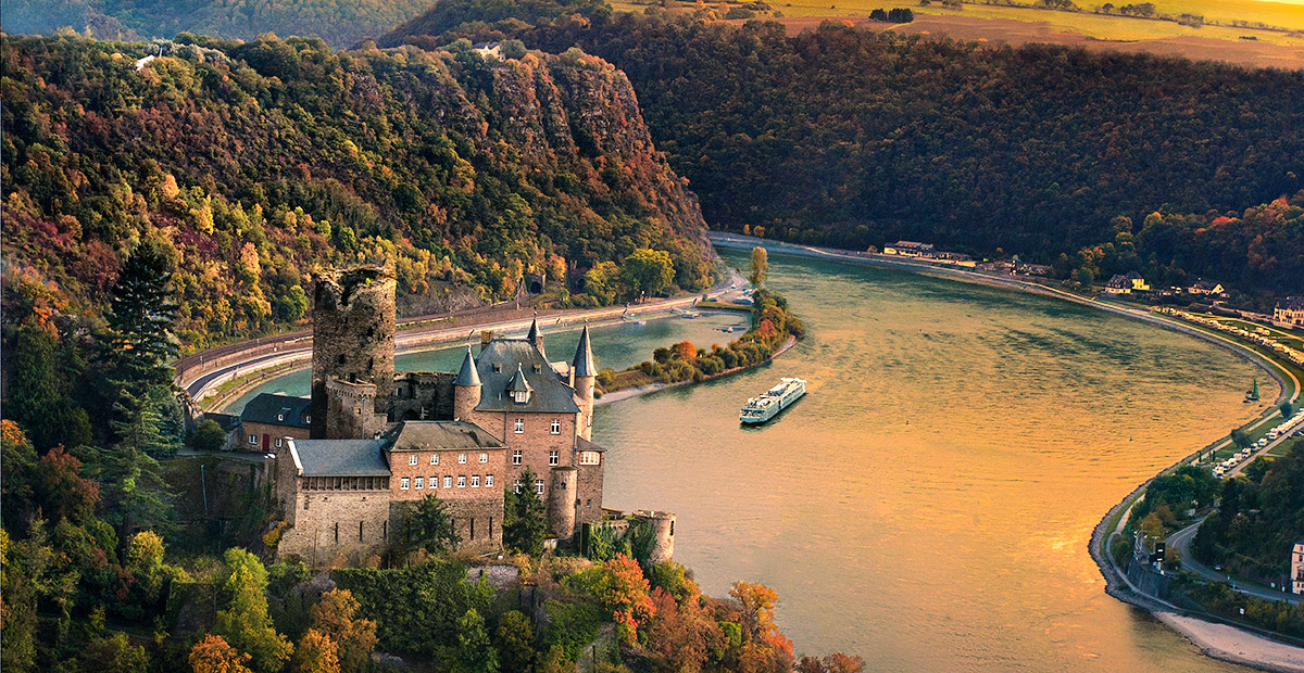 Katz Castle and the Middle Rhine RIver Valley wit ha Viking Long