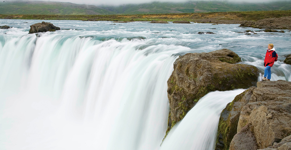 Traveler at Godafoss,